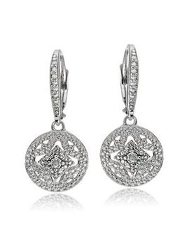 Sterling Silver Diamond Accent Filigree Medallion Dangle Leverback Earrings by Silverspeck