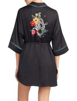 Snake Print Satin Short Robe by Room Service