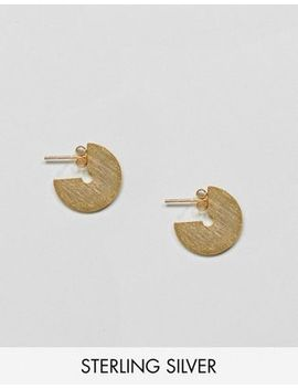 Asos Design Gold Plated Sterling Silver Sleek Satin Finish Solid Hoop Earrings by Asos Design
