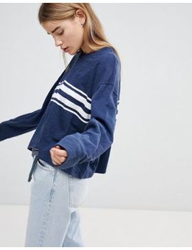 Hollister Oversized Crop Sweat With Raw Hem And Stripe by Hollister
