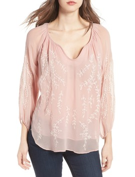 Trellis Vine Embroidered Peasant Blouse by Ella Moss