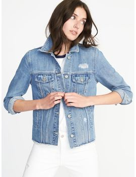 Distressed Raw Edged Denim Jacket For Women by Old Navy