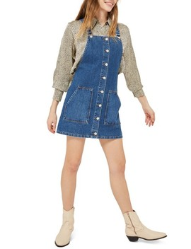 Button Through Denim Pinafore by Topshop