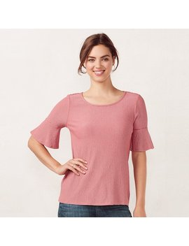 Women's Lc Lauren Conrad Love, Lauren Printed Bell Tee by Kohl's