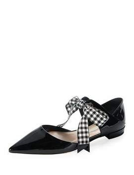 Patent Leather Ankle Tie D'orsay Flat by Miu Miu