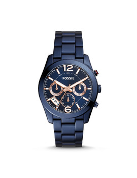 Perfect Boyfriend Multifunction Blue Stainless Steel Watch by Fossil