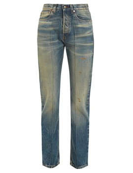 Butterfly Embroidered Straight Leg Jeans by Gucci