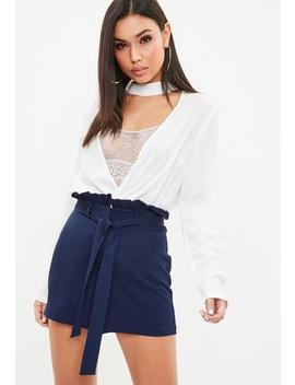 Navy Paperbag Waist Belted Tailored Shorts by Missguided
