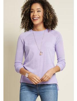 Living Breezy Sweater In Lavender In S Living Breezy Sweater In Lavender In S by Modcloth