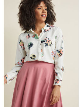Acclaimed Originality Button Up Top In S Acclaimed Originality Button Up Top In S by Modcloth