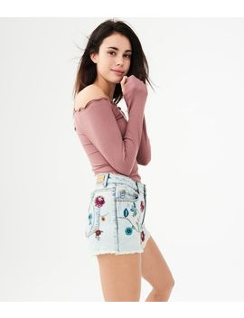 High Waisted Light Wash Floral Denim Midi Shorts by Aeropostale