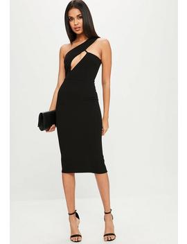 Black One Shoulder Midi Dress by Missguided
