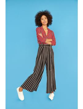 High Waist Stripe Palazzo Pants by F21 Contemporary