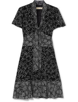 Pussy Bow Printed Chiffon Mini Dress by Michael Michael Kors