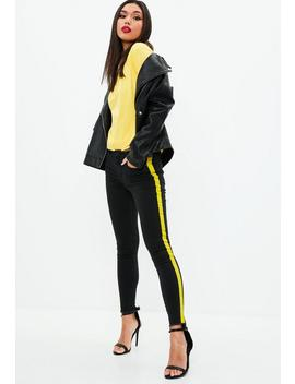 Black Anarchy Mid Rise Skinny Side Stripe Jeans by Missguided