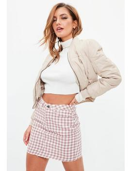 Rose Raw Hem Gingham Denim Mini Skirt by Missguided