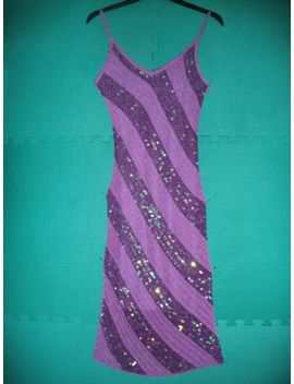 Ladies Size S (8) Purple Diagonally Striped Crochet Strappy Dress By New Look by New Look