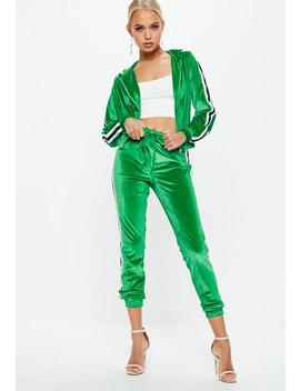 Green Velvet Striped Tracksuit Set by Missguided