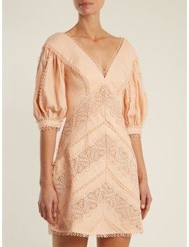 Painted Heart Lace Panel Linen Dress by Zimmermann