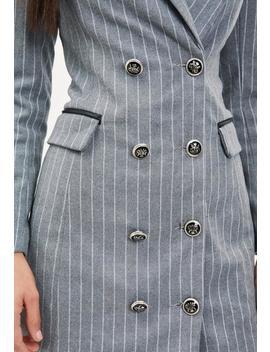 Grey Pinstripe Longline Blazer by Missguided