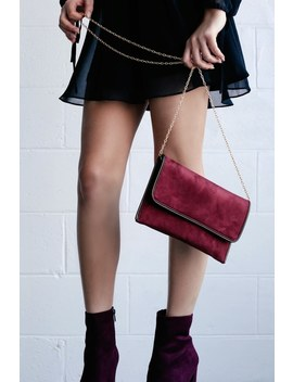 New York Muse Burgundy Suede Clutch by Lulus
