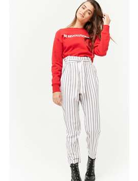 Striped Paperbag Waist Pants by Forever 21