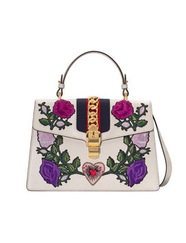 White Embroidered Sylvie Medium Tote Bag by Gucci