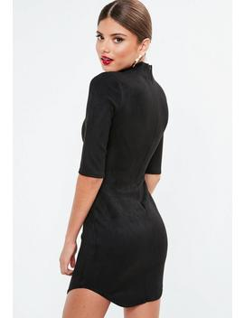 Black High Neck Bonded Suede Mini Dress by Missguided