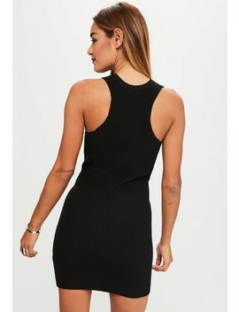 Black Ribbed Knitted Dress by Missguided
