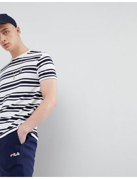 Fila Vintage Terry Towelling Stripe T Shirt In White by Fila