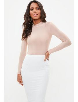 Pink Long Sleeve Slinky High Neck Bodysuit by Missguided