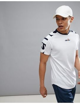Ellesse Tennis T Shirt With Oversized Sleeve Logo In White by Ellesse