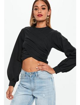 Black Oversized Wrap Cropped Sweatshirt by Missguided
