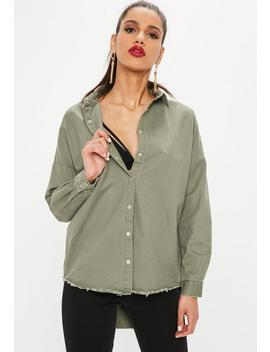 Khaki Oversized Denim Shirt by Missguided