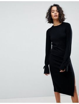 All Saints Midi Knit Dress With Tie Sleeves by All Saints