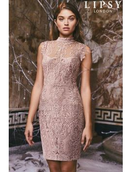Lipsy All Over Lace High Neck Bodycon Dress by Next