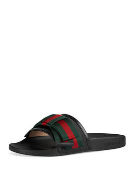 Flat Pursuit Web Slide Sandal by Gucci