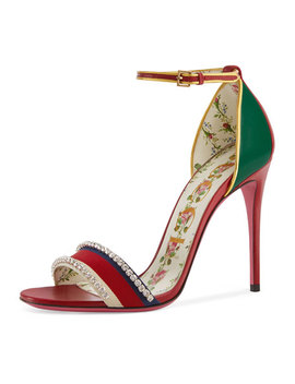 Isle Jeweled Ankle Wrap Sandal by Gucci