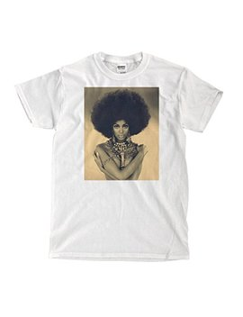Naomi Campbell Afro Vintage   White T Shirt by Cotton Mob