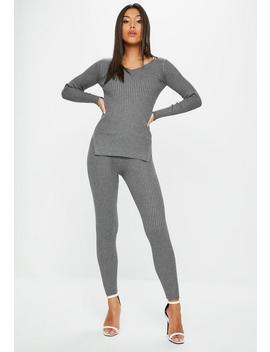 Grey V Neck Ribbed Knitted Set by Missguided