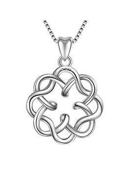 "925 Sterling Silver Irish Infinity Endless Love Celtic Knot Vintage Pendant Necklace, Box Chain 18"" by Angemiel"