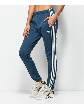 Adidas 3 Stripe Blue Track Pants by Adidas