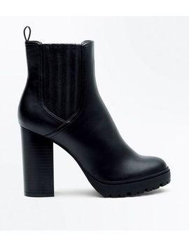 Schwarze Ankle Boots In Lederoptik Mit Blockabsatz by New Look