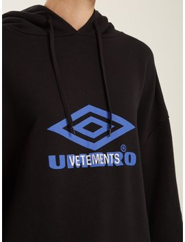 X Umbro Logo Print Cotton Blend Hooded Sweatshirt by Vetements