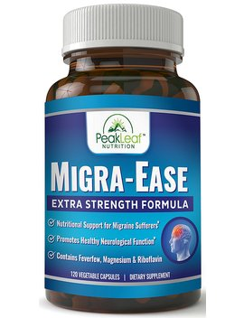 Migra Ease   Headache & Migraine Relief Supplement– 120 Vegetarian Capsules – Extra Strength Formula – Gluten Free, Non Gmo, Lactose Free by Peak Leaf Nutrition