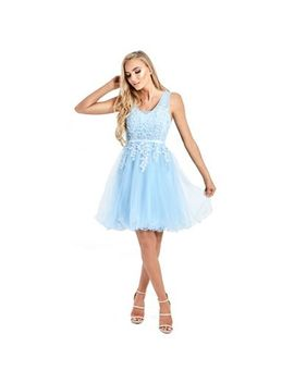 Sistaglam   Baby Blue 'lovie'  Mesh Embroidered Lace Skater Prom Dress by Sistaglam