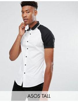 Asos Tall Skinny Shirt With Raglan Sleeves And Rib Collar by Asos