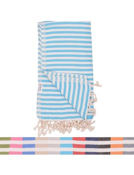 Turquoise Striped Turkish Towel   Naturally Dyed 100 Percents Cotton 70x39 Inches   Beach Towel Bath Pool Yoga Pilates Picnic Blanket Scarf Peshtemal Hammam Fouta by The Riviera Towel Company
