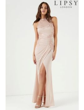 Lipsy High Neck Embroidered Trim Maxi Dress by Next