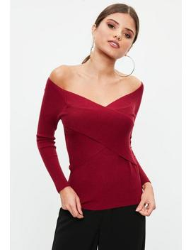 Red Cross Front Skinny Ribbed Sweater by Missguided